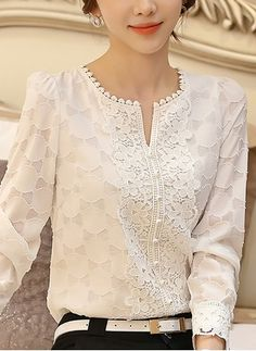 Solid Casual Round Neckline Long Sleeve Blouses Fashion girls, party dresses long dress for short Women, casual summer outfit ideas, party dresses Fashion Trends, Latest Fashion # Blouse Styles, Blouse Designs, Day Dresses, Casual Dresses, Hijab Fashion, Fashion Dresses, Kurta Neck Design, Blouse Dress, White Lace