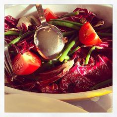 Rode salade met spercibonen