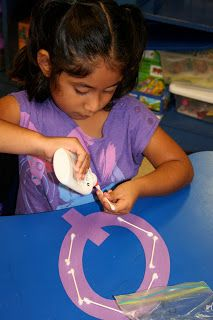 First week of school, each child decorates a letter of the alphabet to put on the wall.