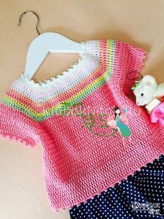 Crochet Knitting Handicraft: Rainbow topic for girls Crochet Baby Sweaters, Crochet Baby Clothes, Crochet Blouse, Crochet Girls, Crochet For Kids, Crochet Children, Knitting For Kids, Baby Knitting, Vestidos Bebe Crochet