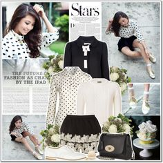 """""""black and white polka dot"""" by annakitty ❤ liked on Polyvore"""