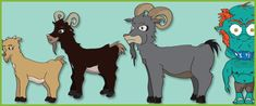 Billy Goats Gruff Stick Puppets...A set of beautifully designed 'Billy Goats Gruff'' illustrations, ideal to cut out and use as visual aid stick puppets. Designed by freelance graphic designer Paul Cullis .