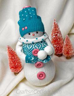 The cutest snowman made with socks & Styrofoam balls! Easy! CraftsnCoffee.com.