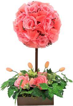 Manualidad de flores, ideal para centro de mesas. Topiario Rosa / verde