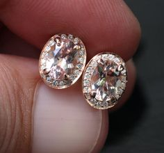 14k Rose Gold 7x5mm Morganite Oval and Diamond Earrings (Choose Color options at checkout)