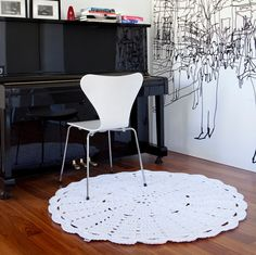 Ecological lace rug 47,2 inch / 120 cm - several colours by HookedDesignFin on Etsy