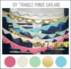 DIY Tissue paper fringe garland with hot glue