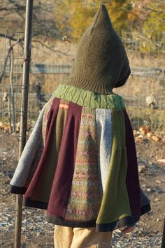 Woodland Cape Upcycled Sweaters Tree Branch by thesittingtree
