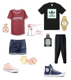"""""""Converse couples"""" by drey-harper on Polyvore featuring Aéropostale, Citizens of Humanity, Converse, Tory Burch, adidas, Marni, Versace and Calvin Klein"""