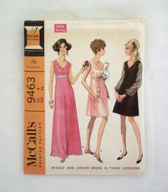 Vintage McCall's dress pattern 9463 size 9 juniors high waisted dress 1968 1960s sewing pattern