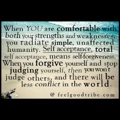 This statement defines whom I have become. Comfort