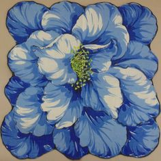 Blue Flower vintage hankie handkerchief