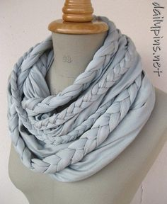 old t-shirt scarf... links back to a bunch of DIY scarf ideas
