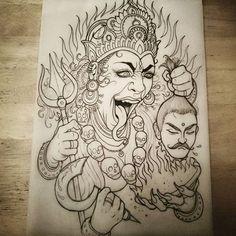 Kali Tattoo, Hindu Tattoos, God Tattoos, Tattoo Sketches, Tattoo Drawings, Skull Tattoo Flowers, Goddess Tattoo, Kali Goddess, Mandala Tattoo
