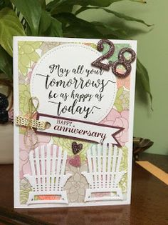 Stampin Up, Colourful Seasons, anniversary cards, may all your tomorrows be as happy as today, cardmaking, papercrafting, Colourful Seasons, adirondack chair, Jane Allmark, amethystarcrafting,