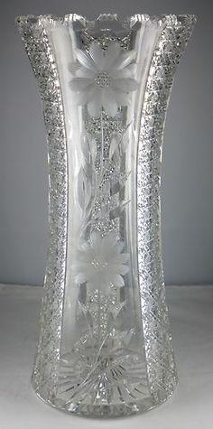 Large abp American Brilliant Period Cut Glass Vase Super | eBay