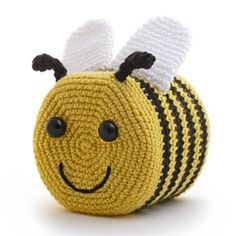"""BUSY BEE"" CROCHETED TOILET PAPER COVER ♦ Pattern in ""Amigurumi Toilet Paper Covers"" by Linda Wright. http://amazon.com/dp/0980092361/"