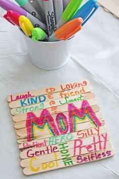 5853a44b00 These Subway Art Popsicle Stick Coasters from @ellaandannie are so easy for  kids to make