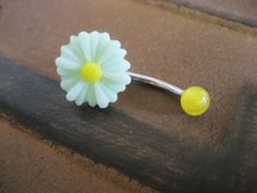 Daisy Belly Button Jewelry Stud Ring Sunflower by Azeetadesigns, $15.00