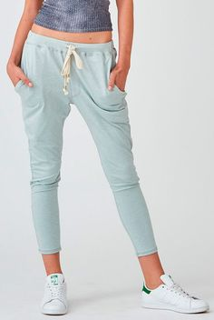 The Crow Collective Journey Pant in Surfbreak is a laid back lounge pant with a drop crotch design. Ultra soft and luxurious, this light blue colored pant is perfect for those lazy days and long weekends. Boasting a relaxed fit that t Patterned Leggings, Blue Leggings, Cute Things For Girls, Tie Shorts, New Bra, Jogger Sweatpants, Colored Pants, Drop Crotch, Lounge Pants
