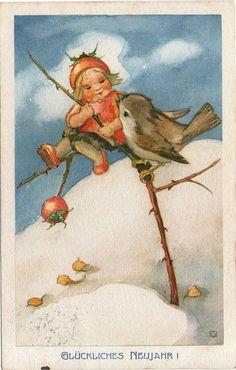 AK - MILI WEBER - MÄDCHEN & VOGEL - Gel. 1921 Schweiz - Vouga & Cie no. 23 in Sammeln & Seltenes, Ansichtskarten, Motive   eBay!