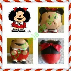 Mafalda Decoupage, Personalized Piggy Bank, Clay Pots, Craft Projects, Kawaii, Piggy Banks, Crafts, Diy, Painting