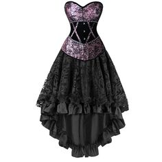 Elegant Gothic Burlesque Dancing Corset Skirt Set