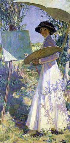 Mrs. Lavery Sketching (1910). John Lavery (Irish, 1856-1941).