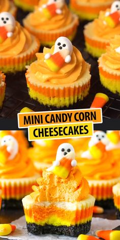Mini Candy Corn Cheesecakes - easy to make and such a fun dessert for Halloween! Mini Candy Corn Cheesecakes - easy to make and such a fun dessert for Halloween! Bolo Halloween, Postres Halloween, Halloween Party Snacks, Halloween Baking, Halloween Recipe, Women Halloween, Halloween Decorations, Halloween 2020, Halloween Makeup