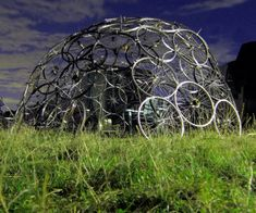 Artist Nick Sayers Creates Geodesic Domes from Recycled and Re-purposed Materials