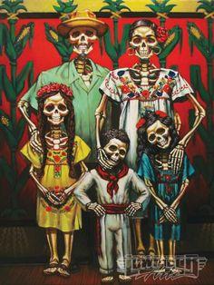 Family Dio De Los Muertos Style