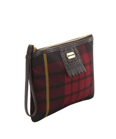 If i could ever live with a purse that small. that's a fantasy. McQ Oxblood Tartan Mini Zip Pouch