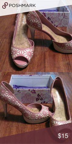 Mauve and cream heels Mauve and cream lattice design heels Shoes Heels