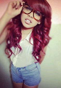 Long, curled red / pink / purple hair #colour