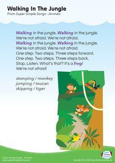 Walking In The Jungle Lyrics Poster | Super Simple