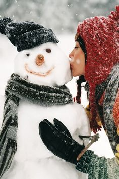 """Proud of her work, or living out a """"Winter Wonderland"""" fantasy with her pretend beau. Whichever, Snow Man looks happy. I Love Winter, Winter Fun, Winter Is Coming, Winter Snow, Snow Fun, Winter Wear, Noel Christmas, Winter Christmas, Christmas Hanukkah"""