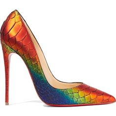 Christian Louboutin So Kate 120 python pumps ($1,195) ❤ liked on Polyvore featuring shoes, pumps, heels, обувь, louboutin, bright orange, snakeskin pumps, pointed toe high heel pumps, multi-color pumps and snake skin pumps