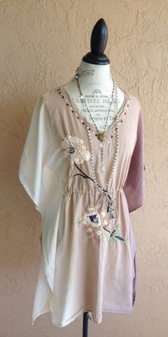 Embroidered Bohemian floral design Kaftan coverup by BohoAngels, $75.00