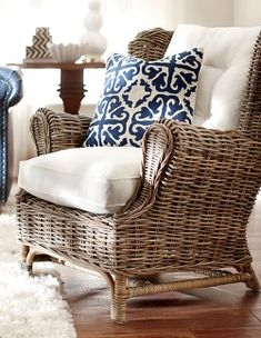 Wicker or rattan for the LR or FR? Love this chair.and it is even better with the blue and white going for it. Coastal Style, Coastal Living, Indoor Wicker Furniture, Conservatory Furniture, Beach House Decor, Home Decor, Home And Deco, Cool Ideas, Diy Ideas