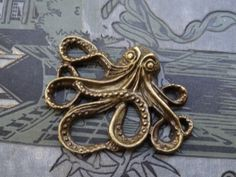 large Antique brass Vintage style octopus pendant by BuyDiy, $5.00