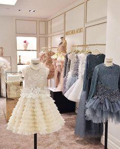MISCHKA AOKI FW 2016/17 Harrods Gowns For Girls, Kids Outfits Girls, Little Girl Dresses, Girl Outfits, Girls Dresses, Flower Girl Dresses, Cute Dresses, Beautiful Dresses, Party Frocks
