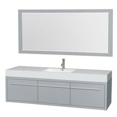Shop for Wyndham Collection Axa 72-inch Dove Grey Acrylic Resin Top Single Vanity with Integrated Sink and 70-inch Mirror. Get free delivery at Overstock.com - Your Online Furniture Outlet Store! Get 5% in rewards with Club O! - 18096607