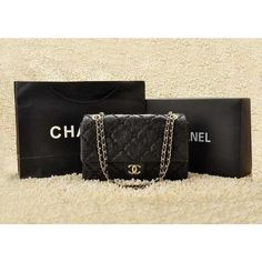 Chanel 2.55 49721 In Crumpled Quilted Black Calfskin Bag