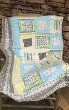 This beautiful quilt for a baby, toddler, child would be a great addition to any home. There are many prints/themes available. 100% cotton. Shown is cotton flannel. Measures at 40x54, machine quilted.