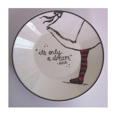 Alice In Wonderland Plate   Original  Hand Decorated  by Icklebabe, $14.50