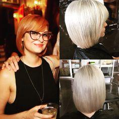 Strawberry blonde to silvery platinum #tayhairedoeshair