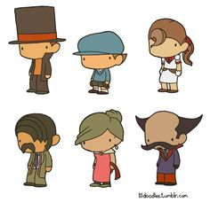 Lil' Professor Layton: St. Mystere booster pack! This pack includes Professor Hershel Layton, Luke Triton, Flora Reinhold, Inspector Chelmey, Lady Dahlia Reinhold and Don Paolo! Like these? Buy the stickers here!