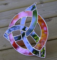 Celtic Trinity Knot Stained Glass Triquetra by GothicGlassStudio