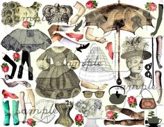 ART TEA LIFE Paper Dolls Digital Collage Sheet Journal Page Scrapbooking altered art doll parts clip art Digital File vintage fashion. $3.95, via Etsy.