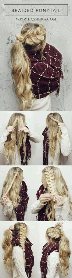Great for the winter Stunning messy plaited ponytail